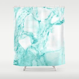 Teal Mermaid Glitter Marble Shower Curtain