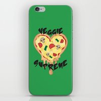vegetarian iPhone & iPod Skins featuring Veggie Supreme - Deluxe Vegetarian Heart Shaped Pizza  by MagicCircle
