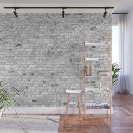 White Washed Brick Wall - Light White and Grey Wash Stone Brick Wall Mural