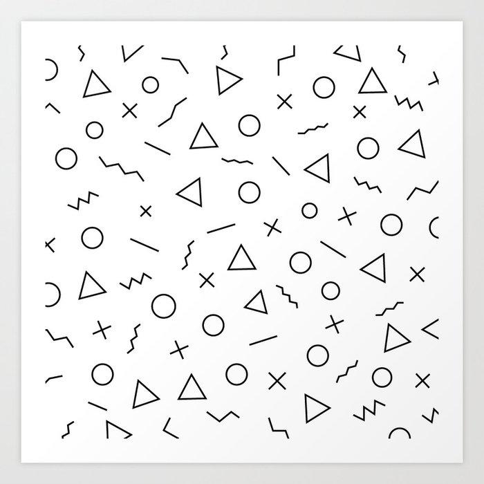 Memphis Geometry ((black on white)) Kunstdrucke