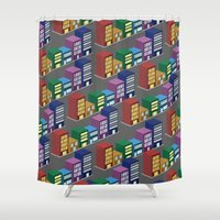 buildings Shower Curtains featuring buildings by mike lett