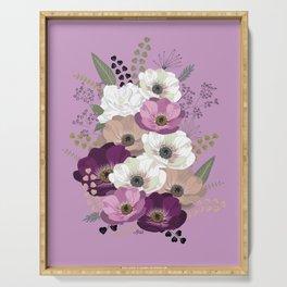 Anemones & Gardenia violet bouquet Serving Tray
