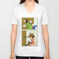 kingdom hearts V-neck T-shirts featuring KINGDOM HEARTS: WINNIE THE POOP   by Gianluca Floris