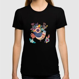 With Flowers On Her Feathers She Flies Freely T-shirt