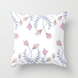 Pastel flowers and leaves pattern Throw Pillow