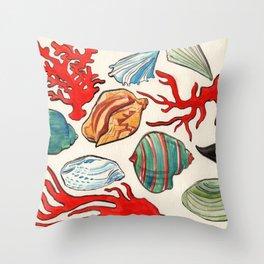 Sea Life Watercolor Throw Pillow