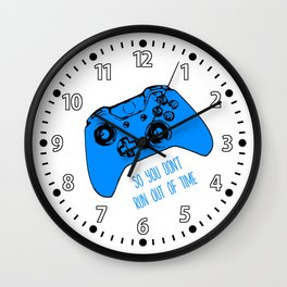 Video Game White and Blue Wall Clock