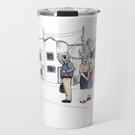 """Brix and Bailey """"Waiting In Line"""" Travel Mug"""