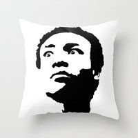 caleb troy Throw Pillows featuring Greendale Community: Troy Barnes by Catherine