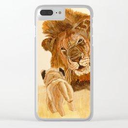 Lion Watercolor Clear iPhone Case