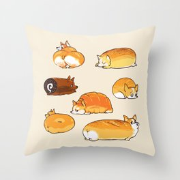 Bread Corgis Throw Pillow