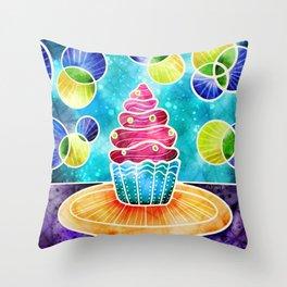 Batik Cupcake - Colorful Pink + Teal Palette  Throw Pillow