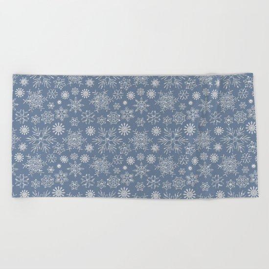 Merry Christmas- Abstract christmas snow star pattern on fresh grey Beach Towel