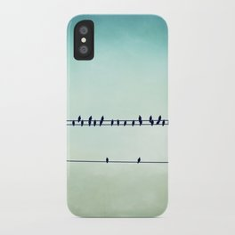 Aqua Birds on Wire Photography, Teal Bird on Wires, Turquoise Nature Art iPhone Case