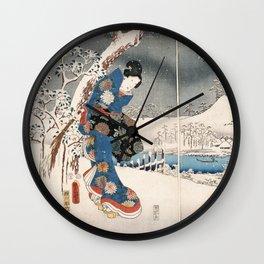 Japanese Vintage Kunisada Hiroshige Snowy Landscape Wall Clock