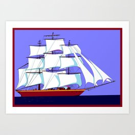 A Clipper Ship Full Sail in Still Waters Art Print