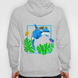 whale wearing sunglasses with palm watercolour Hoody
