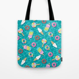 Sweet Treats Pool Floats Pattern – Turquoise Tote Bag