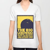 big lebowski V-neck T-shirts featuring The Big Lebowski by Chá de Polpa