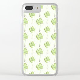 Four Leaf Clover Pattern Clear iPhone Case