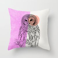 techno Throw Pillows featuring Techno Owl by Zeke Tucker