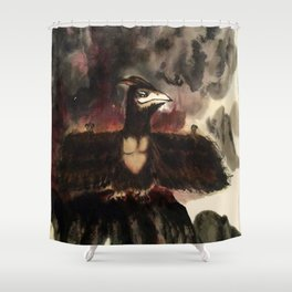 Monsters destroy the city - Yellowbox ink painting Shower Curtain