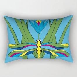 Turquoise Dragonfly Tulip Rectangular Pillow