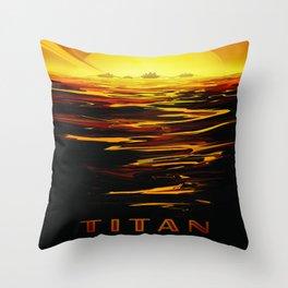 Titan : NASA Retro Solar System Travel Posters Throw Pillow