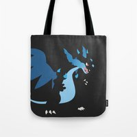charizard Tote Bags featuring Mega Charizard X PKMN by Rebekhaart