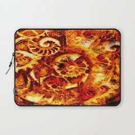 Burnt Umber Sea Shell-Clock Work Abstract Painting Laptop Sleeve