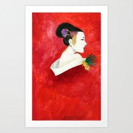 Red Wall Geisha Art Print