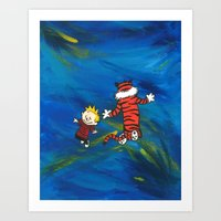 calvin and hobbes Art Prints featuring Calvin & Hobbes - Blue by Always Add Color