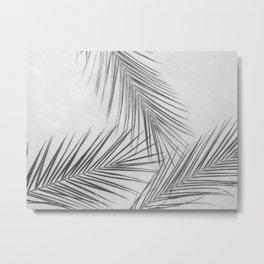 Tropical Palm Leafs (Black and White) Metal Print