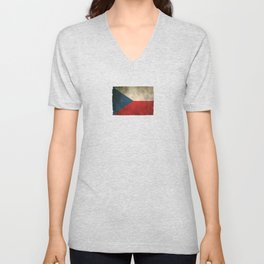 Old and Worn Distressed Vintage Flag of Czech Republic Unisex V-Neck