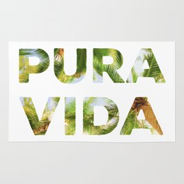 Pura Vida Costa Rica Palm Trees Rug