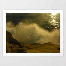 Waves against the Cliffs  Art Print