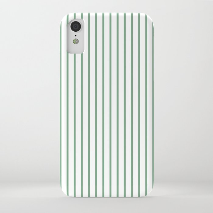 Moss Green Green Pin Stripe on White iPhone Case