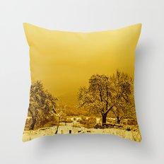 Golden winter Throw Pillow