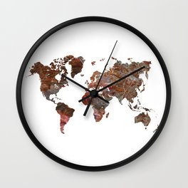 Siena Rosso Marble World Map Wall Clock