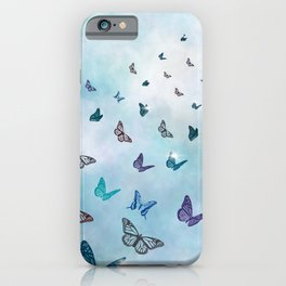 The Flight Of The Butterflies On A light blue Background  iPhone Case