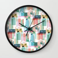 bath Wall Clocks featuring Bath by Coral Elizabeth Design