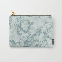 Aqua Blue and Mint Marbled Pattern Carry-All Pouch