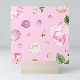 Pink Watercolor Flowers Mini Art Print