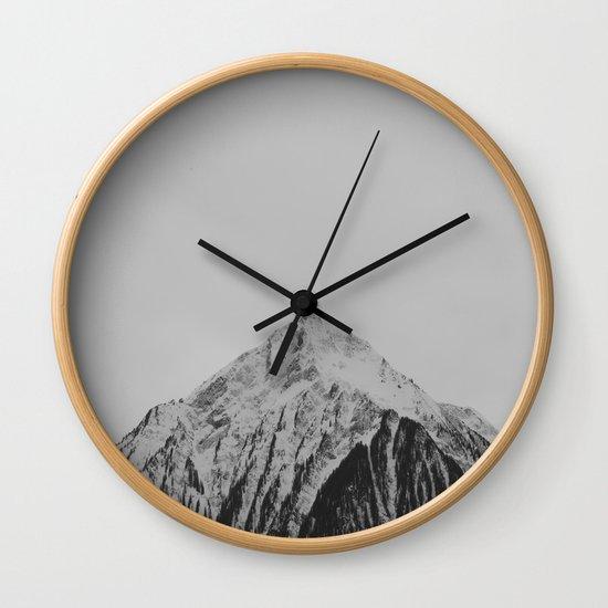 Mid Century Modern Round Circle Photo Grey Minimalist Monochrome Snow Mountain Peak by enshape