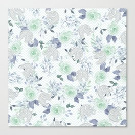 Watercolor mint green gray elephant geometric floral Canvas Print