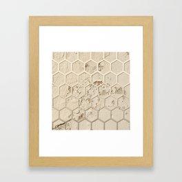 Hexagon on Beige Grunge Wall Framed Art Print
