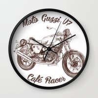 cafe racer Wall Clocks featuring vintage moto guzzi - cafe racer by dareba