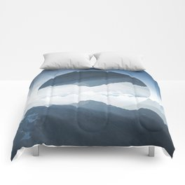 High mountain in morning time Comforters