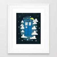 tardis Framed Art Prints featuring blue box by Matthew Taylor Wilson
