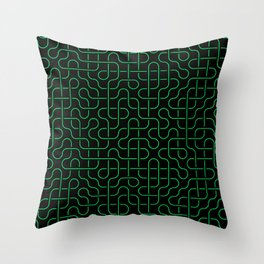 Green Swirl Lines Pathway Throw Pillow